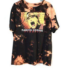 Naruto Japan Anime Black Tee Shirt Tie Dye XL